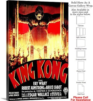"King Kong Famous Action Movie Theater 1933 Art-3 Canvas Wrap 20"" x 30"""