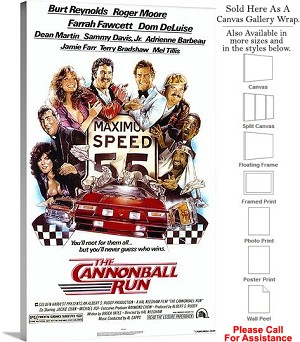 "Cannonball Run Famous Action Movie Theater Art Canvas Wrap 18"" x 30"""