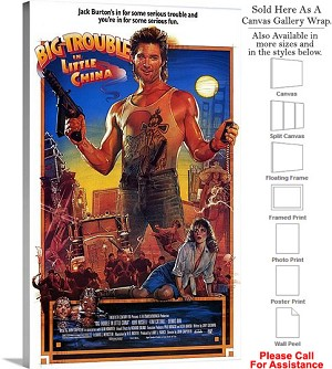 "Big Trouble in Little China Movie Theater 1986 Art Canvas Wrap 18"" x 30"""