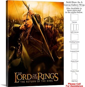 "The Lord of the Rings Return of King Movie Art-4 Canvas Wrap 22"" x 30"""