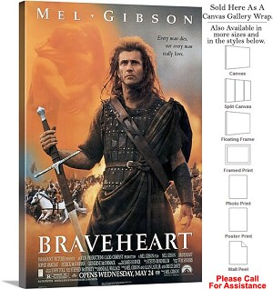 "Braveheart Famous Action Movie Theater 1995 Art Canvas Wrap 20"" x 30"""