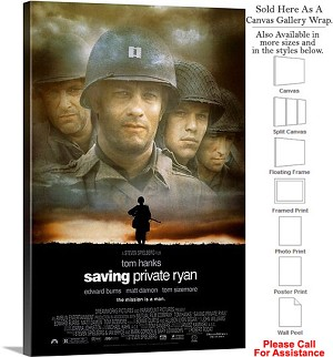 "Saving Private Ryan Famous Movie Theater Art-2 Canvas Wrap 20"" x 30"""