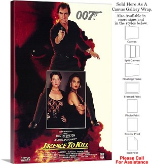 "007 License to Kill Famous Movie Theater 1989 Art Canvas Wrap 20"" x 30"""