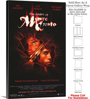 "The Count of Monte Cristo Movie Theater 2002 Art Canvas Wrap 18"" x 30"""
