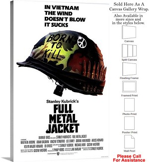 "Full Metal Jacket Action Movie Theater 1987 Art Canvas Wrap 20"" x 30"""