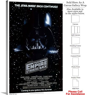 "The Empire Strikes Back Movie Theater 1980 Art Canvas Wrap 20"" x 30"""