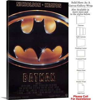 "Batman Famous Action Movie Theater 1989 Art Canvas Wrap 20"" x 30"""