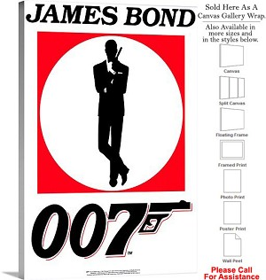 "James Bond 007 Famous Action Movie Theater Art Canvas Wrap 20"" x 30"""