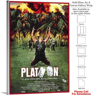 "Platoon Famous Action Movie Theater 1986 Art Canvas Wrap 20"" x 30"""
