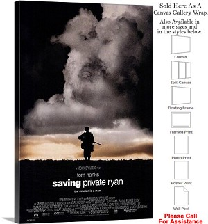 "Saving Private Ryan Famous Movie Theater 1998 Art Canvas Wrap 20"" x 30"""