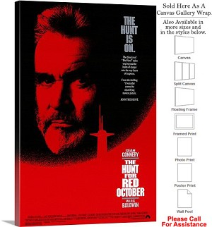 "The Hunt for Red October Movie Theater 1990 Art Canvas Wrap 20"" x 30"""