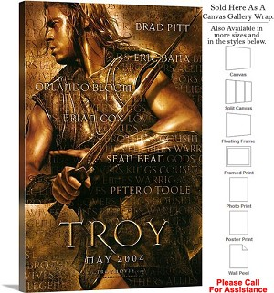 "Troy Famous Action Movie Theater 2004 Art-2 Canvas Wrap 20"" x 30"""