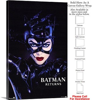 "Batman Returns Famous Movie Theater 1992 Art-2 Canvas Wrap 20"" x 30"""