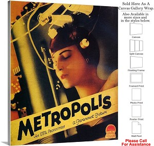 "Metropolis Famous Action Movie Theater 1927 Art Canvas Wrap 19"" x 24"""