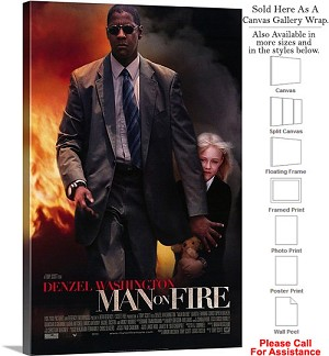 "Man on Fire Famous Action Movie Theater 2004 Art Canvas Wrap 20"" x 30"""