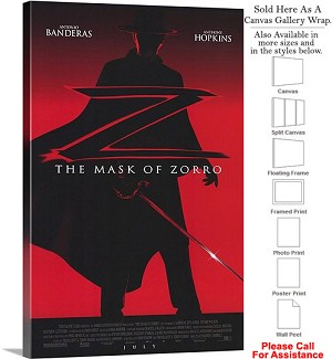 "The Mask of Zorro Famous Action Movie Theater Art Canvas Wrap 20"" x 30"""