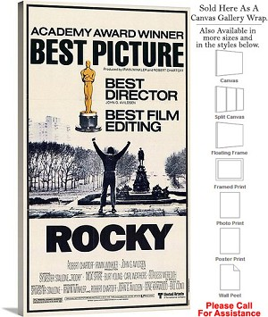 "Rocky Famous Action Movie Theater 1977 Art-3 Canvas Wrap 17"" x 30"""