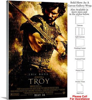 "Troy Famous Action Movie Theater 2004 Art Canvas Wrap 20"" x 30"""