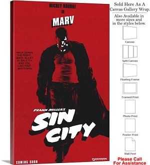 "Sin City Famous Action Movie Theater 2005 Art-3 Canvas Wrap 18"" x 30"""