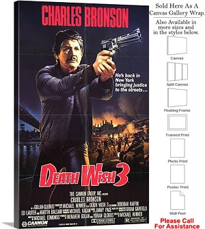 "Death Wish 3 Famous Action Movie Theater 1985 Art Canvas Wrap 18"" x 30"""