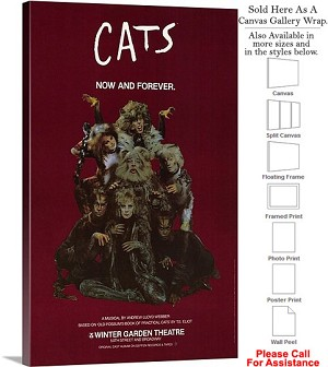 "CATS 1982 Famous Broadway Musical Production Show Canvas Wrap 18"" x 30"""