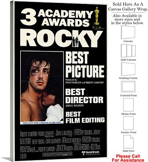 "Rocky Famous Action Movie Theater 1977 Art-2 Canvas Wrap 18"" x 30"""