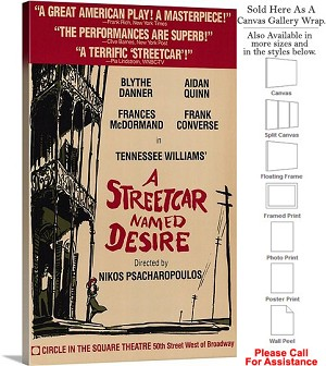 "A Streetcar Named Desire 1988 Broadway Musical Canvas Wrap 18"" x 30"""