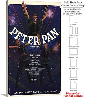 "Peter Pan 1979 Famous Broadway Musical Production Canvas Wrap 18"" x 30"""