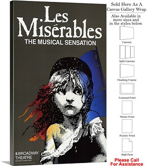 "Les Miserables 1987 Famous Broadway Musical-2 Canvas Wrap 18"" x 30"""