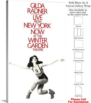 "Gilda Radner Live From New York 1979 Broadway Canvas Wrap 18"" x 30"""