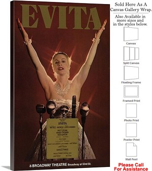 "Evita 1979 Famous Broadway Musical Production Show Canvas Wrap 18"" x 30"""