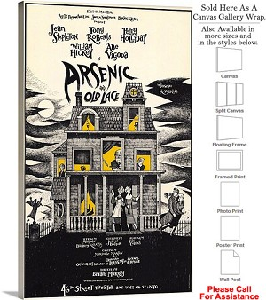 "Arsenic and Old Lace 1986 Famous Broadway Musical Canvas Wrap 18"" x 30"""