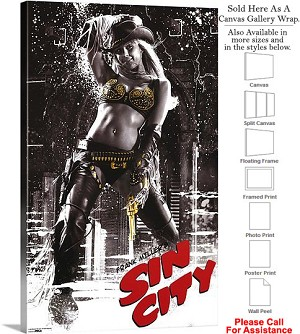 "Sin City Famous Action Movie Theater 2005 Art-4 Canvas Wrap 18"" x 30"""