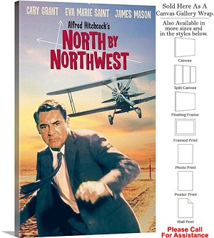 "North By Northwest Famous Movie Theater 1959 Art Canvas Wrap 18"" x 30"""