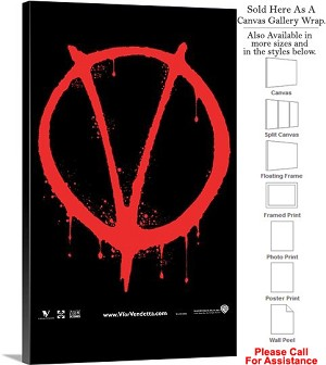 "V for Vendetta Famous Action Movie Theater Art Canvas Wrap 18"" x 30"""