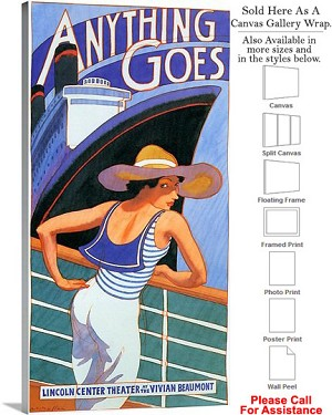 "Anything Goes 1988 Famous Broadway Musical Show Canvas Wrap 19"" x 36"""