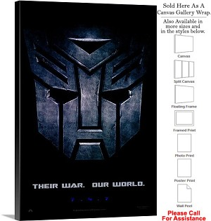 "Transformers Famous Action Movie Theater Art-3 Canvas Wrap 20"" x 30"""