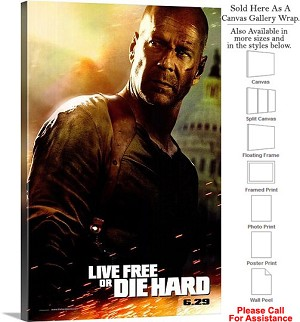 "Live Free or Die Hard Famous Movie Theater Art Canvas Wrap 20"" x 30"""