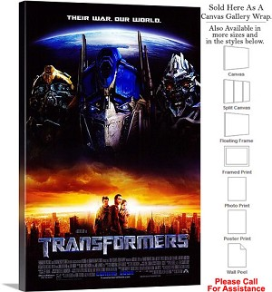"Transformers Famous Action Movie Theater 2007 Art Canvas Wrap 20"" x 30"""