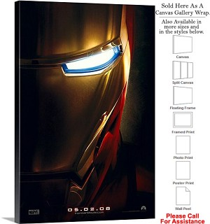"Iron Man Famous Action Movie Theater 2008 Art Canvas Wrap 20"" x 30"""