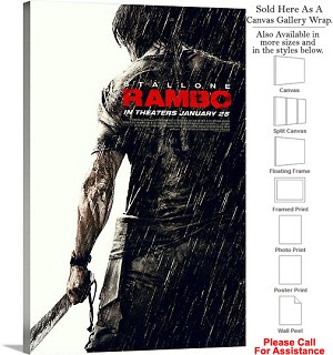 "Rambo Famous Action Movie Theater 2006 Art Canvas Wrap 20"" x 30"""
