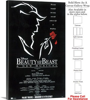 "Beauty and The Beast 1994 Famous Broadway Musical Canvas Wrap 18"" x 30"""
