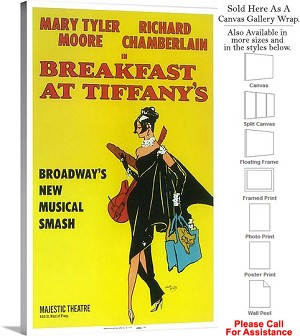 "Breakfast at Tiffanys 1966 Famous Broadway Musical Canvas Wrap 18"" x 30"""