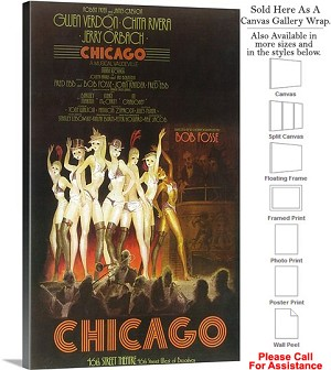 "Chicago 1975 Famous Broadway Musical Production Canvas Wrap 18"" x 30"""