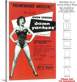 "Damn Yankees 1955 Famous Broadway Musical Show Canvas Wrap 20"" x 30"""