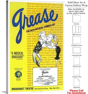 "Grease 1972 Famous Broadway Musical Production-2 Canvas Wrap 20"" x 30"""