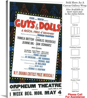 "Guys and Dolls 1950 Famous Broadway Musical Show Canvas Wrap 18"" x 30"""
