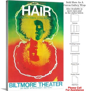 "HAIR 1968 Famous Broadway Musical Production Show Canvas Wrap 20"" x 30"""
