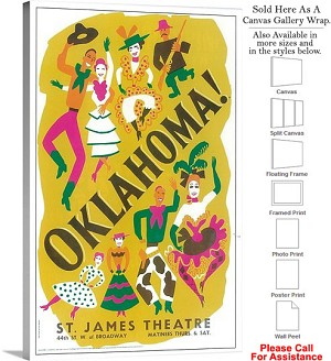 "Oklahoma! 1943 Famous Broadway Musical Production Canvas Wrap 18"" x 30"""