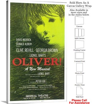 "Oliver! 1963 Famous Broadway Musical Production Canvas Wrap 18"" x 30"""